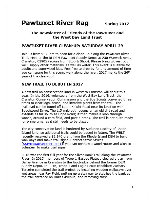 Friends of the Pawtuxet newsletter 2017 page 1