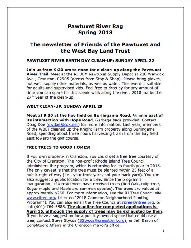 Friends of the Pawtuxet newsletter 2018 page 1