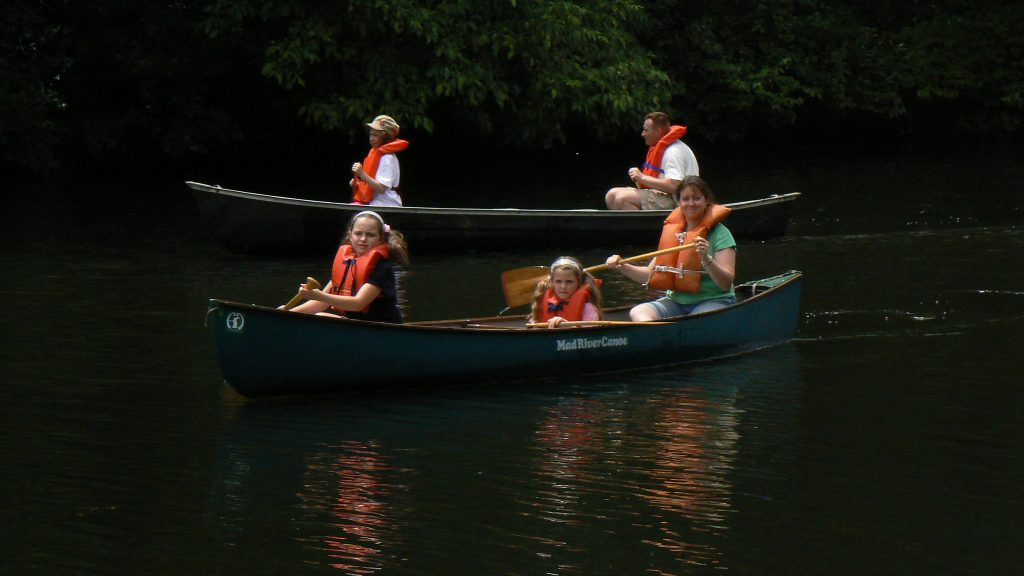Canoes on the Pawtuxet River; photo by Josh Wood