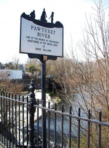 Pawtuxet River sign; photo by Lynne Harrington