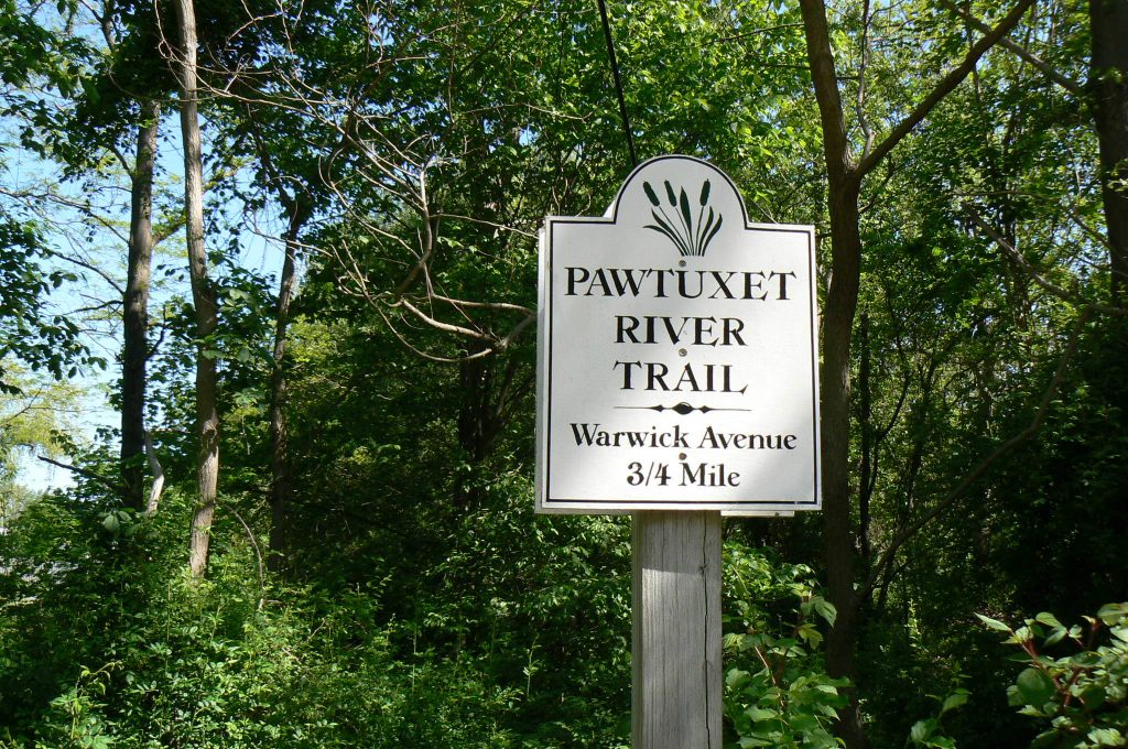 Pawtuxet River Trail sign; photo by Josh Wood